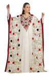 Red and Black Flowers Embroidered Farasha Maxi - Maxim Creation
