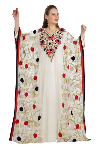 Red and Black Flowers Embroidered Farasha Maxi 7821