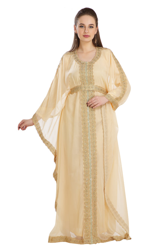 Long Bell Sleeve Farasha Dubai Kaftan in Beige Georgette 2 piece set - Maxim Creation