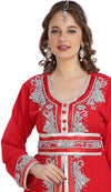 Red Moroccan Caftan French Takchita Lace & Embroidery - Maxim Creation