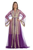 Victorian Princess Gown Royal Wedding Robe Purple Net /Tul 3 Piece Set