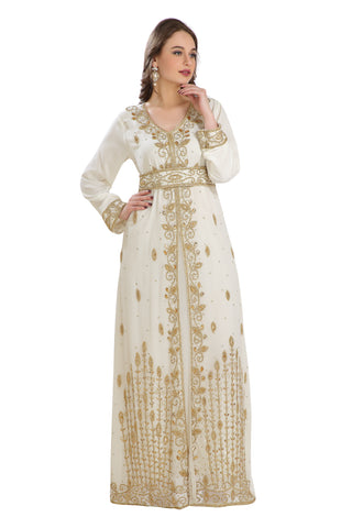 Tunisian Kaftan Algerian Abaya with Golden Sequins Rhinestone Hand Embroidery