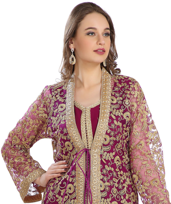 Maroon 2 piece Oriental Wedding Robe French Cardigan With All Over Embroidery Work 7836