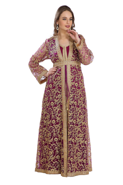Oriental Wedding Robe French Cardigan With All Over Embroidery Work - Maxim Creation
