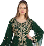 Hand Zari Work Embroidery Henna Party Abaya Caftan 2 Piece Set