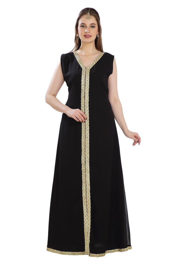 Black Wedding Gown Tul Net Fabric with Fancy Lace Work - Maxim Creation