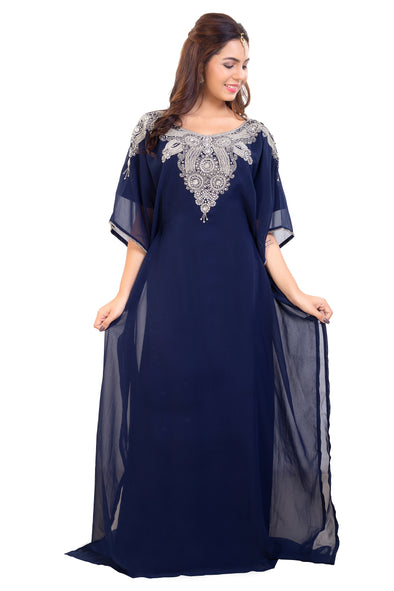 Royal Poncho Navy Blue Long Robe with Silver Embellishments - Maxim Creation