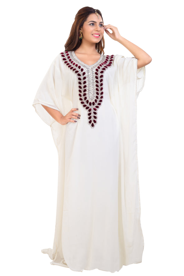 Cream Maxi with Red Velvet Motifs and Silver Hand Embroidery - Maxim Creation