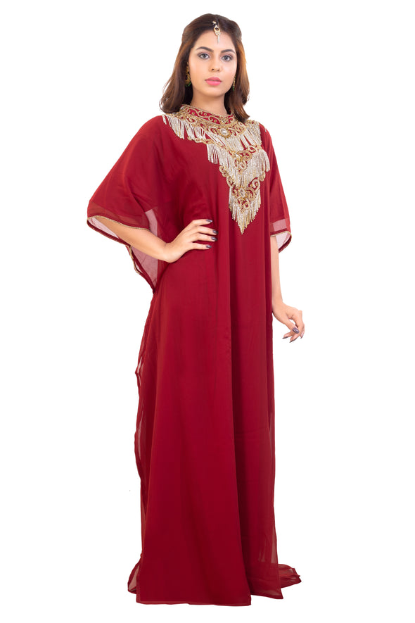 Designer Dubai Kaftan for Women with Long Tassels and Shiny Stone Crystals - Maxim Creation