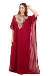 Designer Dubai Kaftan for Women with Long Tassels and Shiny Stone Crystals