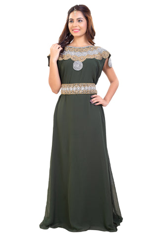 Olive Green Wedding Gown High Quality Crystals and Rhinestones