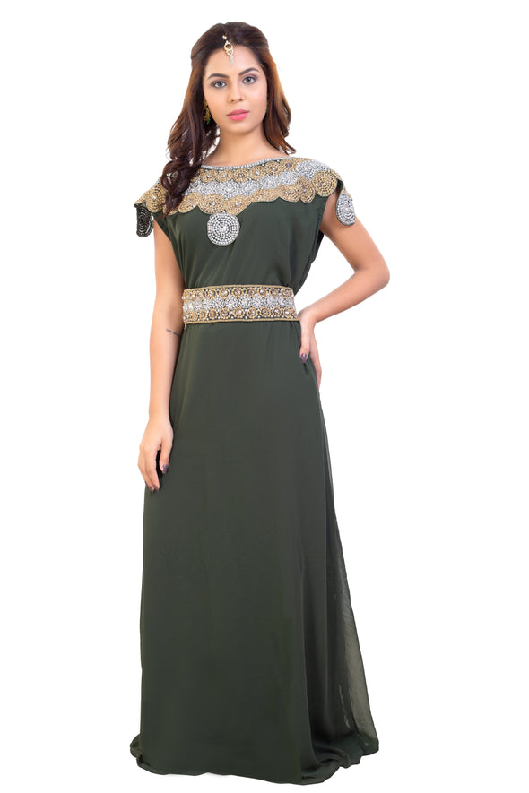 Olive Green Wedding Gown High Quality Crystals and Rhinestones - Maxim Creation