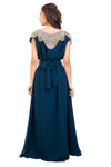 Peacock Blue Maxi Embroidered Bridesmaid Gown - Maxim Creation