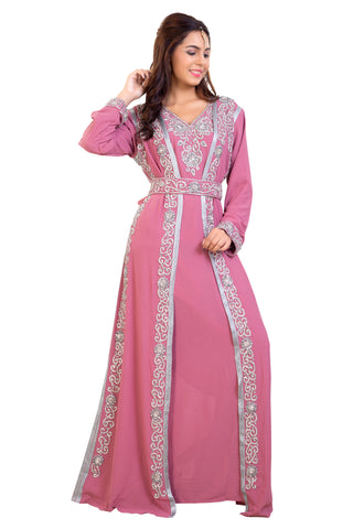 Pink Maxi with Crystal Stones & Custom Hand Embroidered Dubai Kaftan