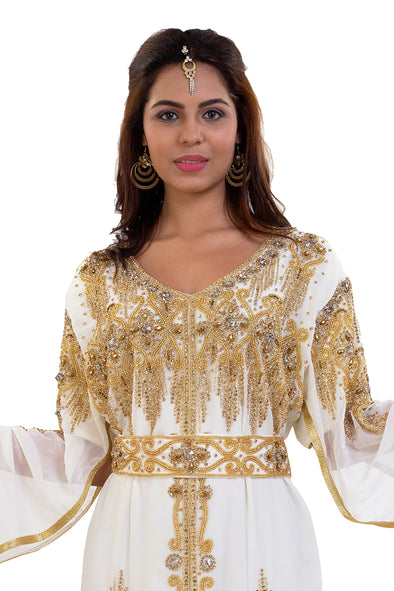 Bell Sleeve Wedding Suit for Women with Golden Sequins , Crystals and Rhinestones - Maxim Creation