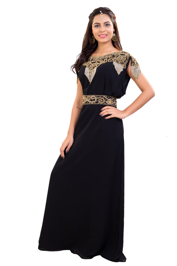 Little Black Dress Golden Hand Embroidered with Tassels 7909