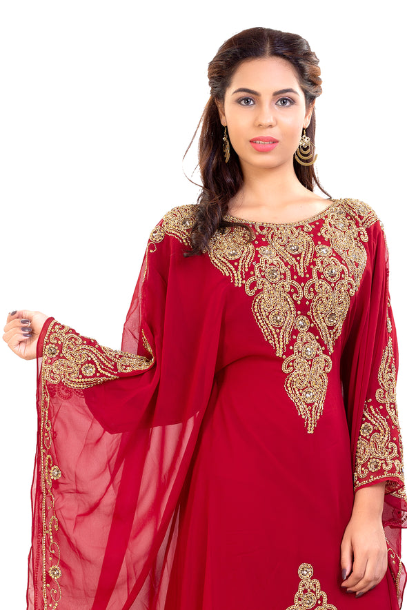 Moroccan Caftan With Golden Embroidery - Maxim Creation