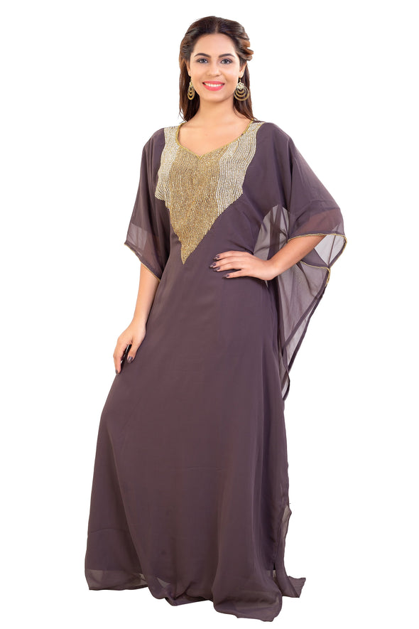 Embroidered Poncho Dress Boho Maxi Gown Short Sleeve Party Dress 7923