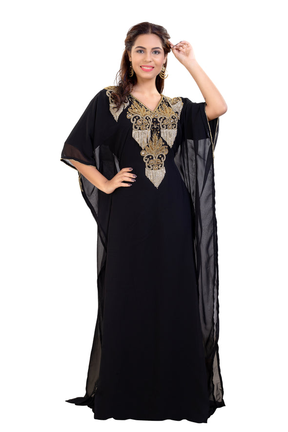 Little Black Dress Embroidered Cocktail Party Gown for Women - Maxim Creation
