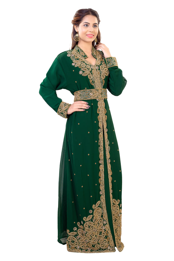 Arabic Kaftan Dress from Dubai with Belt and Golden Embellishments 7928
