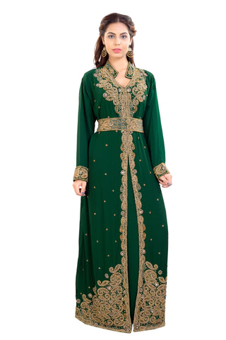 Arabic Kaftan Dress from Dubai with Belt and Golden Embellishments