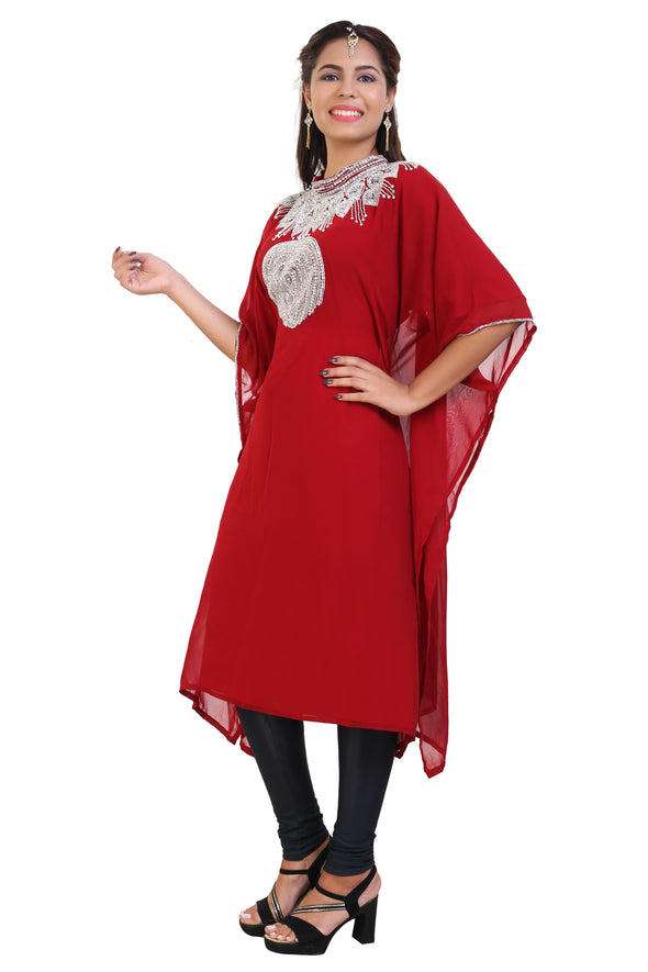 Red Kurti Knee Length Tunic Womens Short Dress 7933