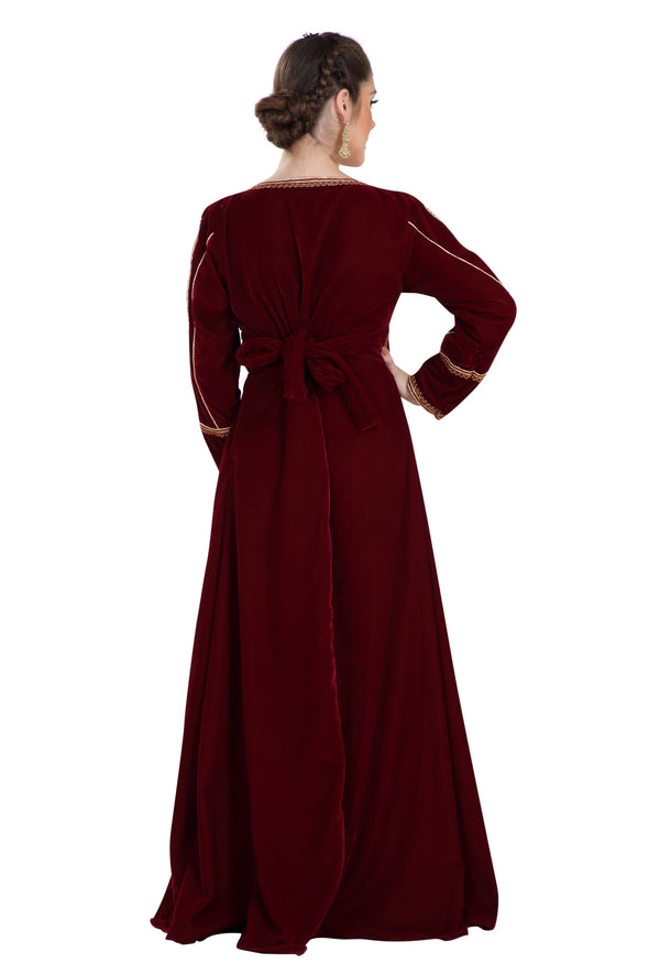 SOFT COMFORTABLE WEDDING GOWN VELVET MAXI DRESS 7962
