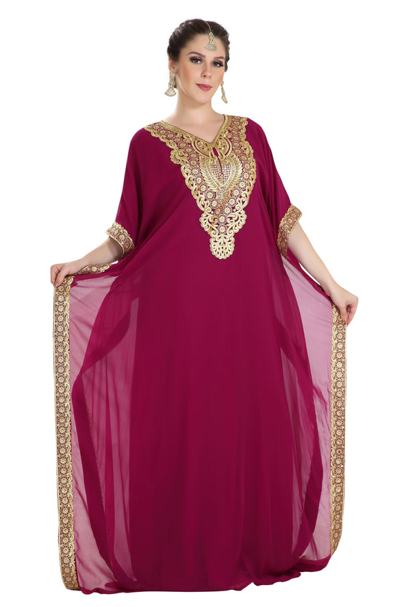 LONG FARASHA MAXI IN THREADWORK EMBROIDERY - Maxim Creation