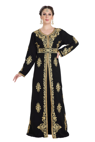 BLACK DESIGNER ABAYA ARABIC DRESS 7964
