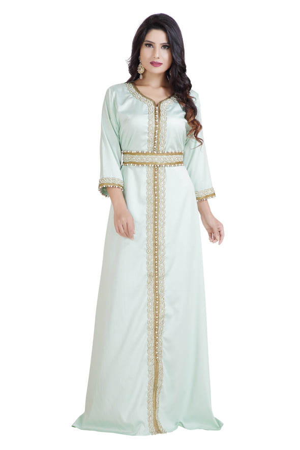 MOROCCAN CAFTAN IN HIGH QUALITY SATIN - Maxim Creation