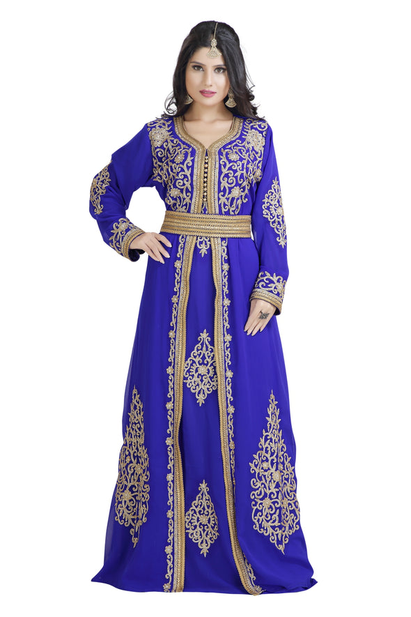 ROYAL BLUE WEDDING GOWN ARABIC DRESS 8025