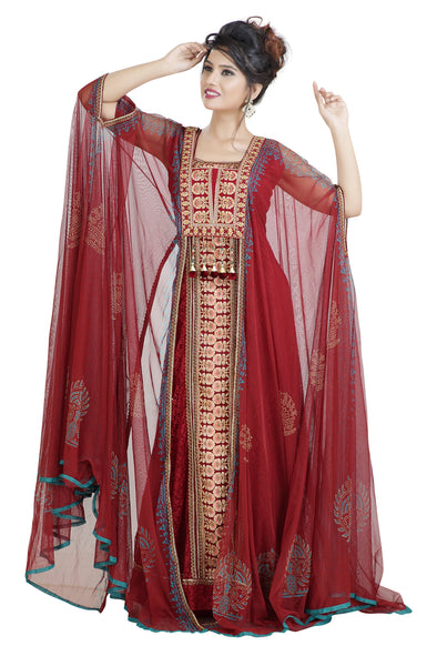 DARK RED THREAD WORK DUBAI PARTY WEAR 8066
