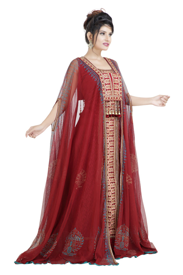 DARK RED THREAD WORK DUBAI PARTY WEAR - Maxim Creation