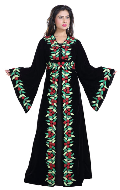 Floral Machine Embroidered Jellabiya Ladies Gown - Maxim Creation
