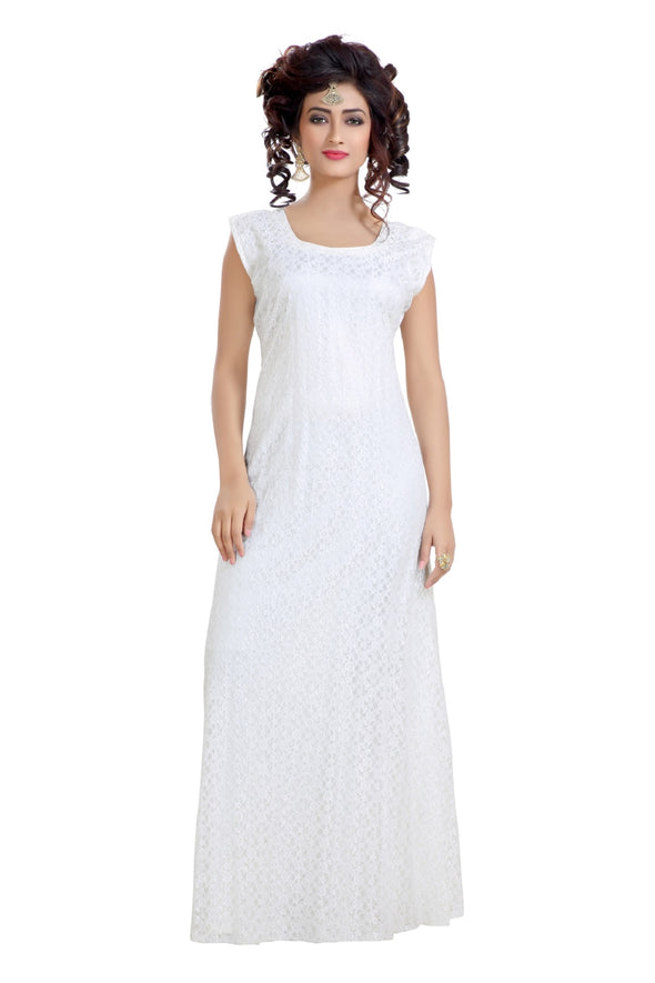 FLOWER NET MAXI DRESS NIGHT GOWN - Maxim Creation