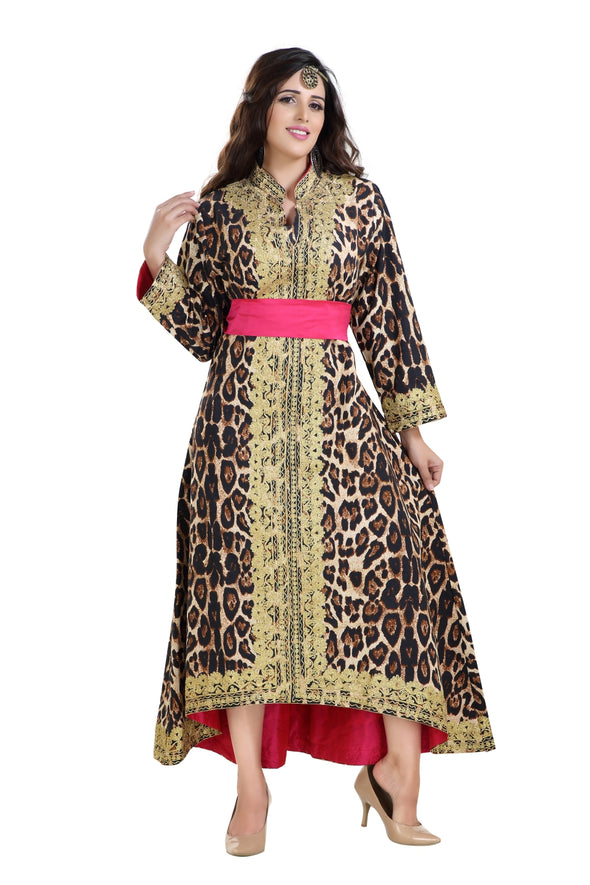 Tiger Print Satin Ball Gown - Maxim Creation