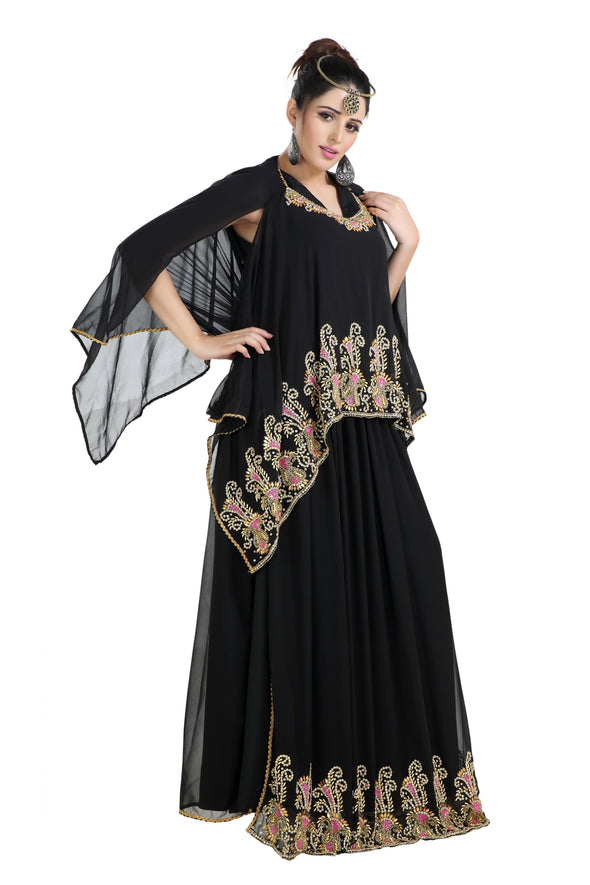 DUBAI ROBE WITH MIXED COLOR BEADS AND SEQUINS 8167