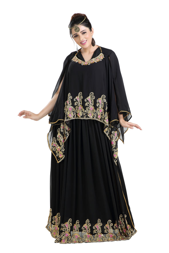 DUBAI ROBE WITH MIXED COLOR BEADS AND SEQUINS - Maxim Creation