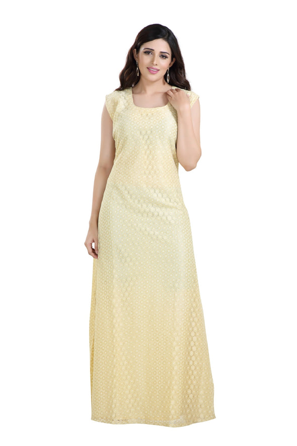 SOFT BEIGE MAXI DRESS FOR DAILY USE - Maxim Creation