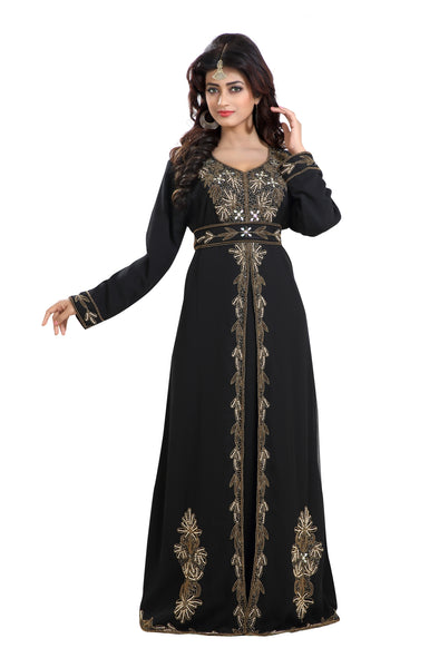 BLACK WEDDING ROBE with GOLD EMBROIDERY - Maxim Creation