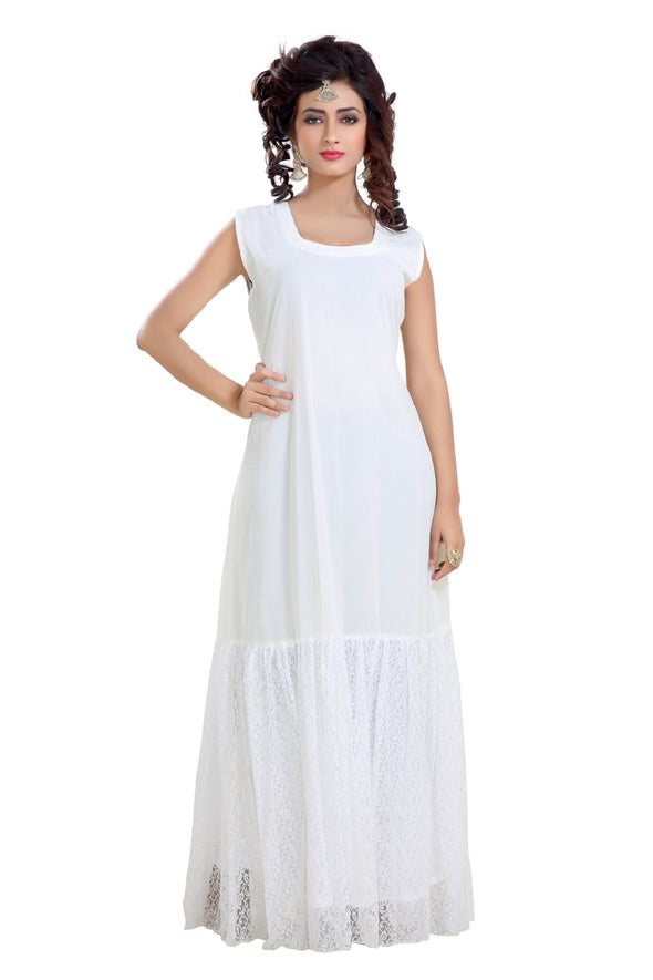 BOHO STYLE CREAM MAXI DRESS - Maxim Creation