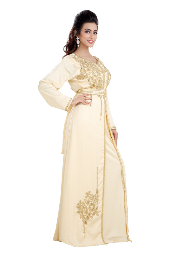BEIGE SATIN MAXI DRESS MOROCCAN PARTY WEAR - Maxim Creation
