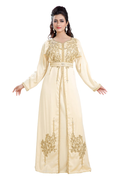 BEIGE SATIN MAXI DRESS MOROCCAN PARTY WEAR 8213