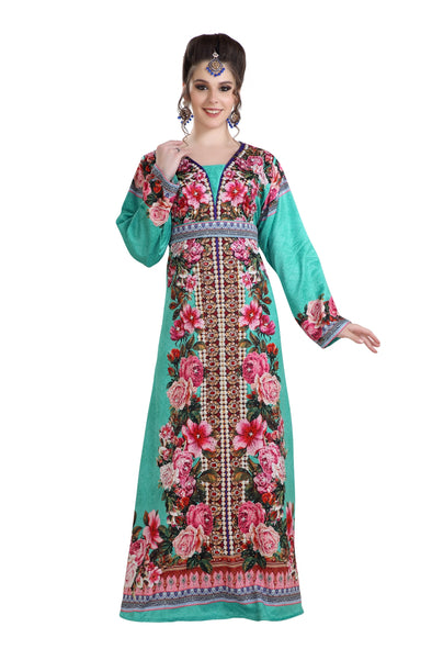 DUBAI PRINTED FABRIC ROBE MAXI DRESS