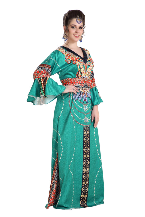 LONG TUNIC COLORFUL 3D PRINT MAXI DRESS with CRYSTALS - Maxim Creation