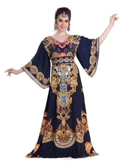 DUBAI PRINTED KAFTAN FARASHA BALL GOWN IN SATIN with CRYSTALS - Maxim Creation