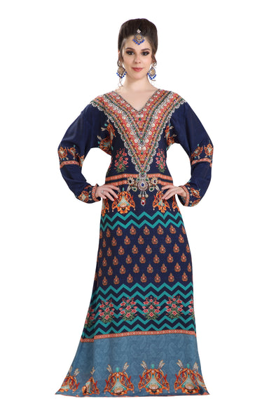 PRINTED CAFTAN BEACH KAFTAN IN PRINT with CRYSTALS - Maxim Creation
