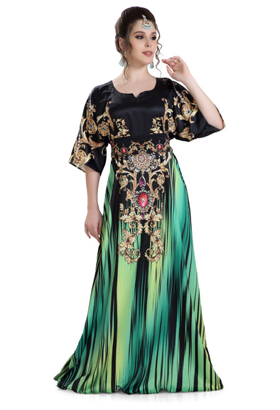 PRINTED SATIN KAFTAN BALL GOWN HAND TOUCH with CRYSTALS - Maxim Creation