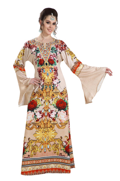 BEIGE DIGITAL PRINTED FABRIC AZTEC GOWN