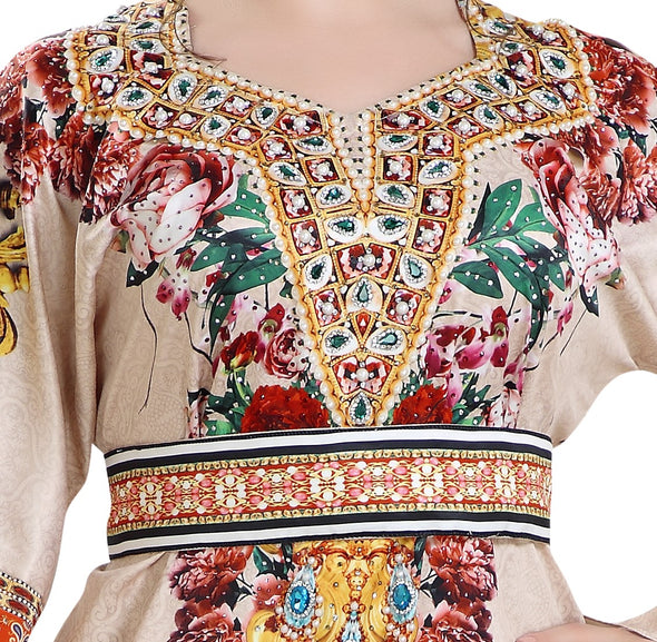 DIGITAL PRINTED KAFTAN ON SILK SMOOTH FABRIC with CRYSTALS - Maxim Creation